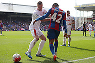 Ryan Shawcross, the Stoke City captain pushes Jason Puncheon of Crystal Palace. Barclays Premier League match, Crystal Palace v Stoke City at Selhurst Park in London on Saturday 7th May 2016. pic by John Patrick Fletcher, Andrew Orchard sports photography.