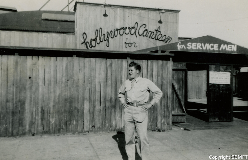 1943 Serviceman, Bill Campbell in front of the Hollywood Canteen