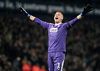 West Bromwich Albion's Sam Johnstone taunts the Leeds United fans after his side go 3-0 ahead. <br /> <br /> Photographer David Shipman/CameraSport<br /> <br /> The EFL Sky Bet Championship - West Bromwich Albion v Leeds United - Saturday 10th November 2018 - The Hawthorns - West Bromwich<br /> <br /> World Copyright © 2018 CameraSport. All rights reserved. 43 Linden Ave. Countesthorpe. Leicester. England. LE8 5PG - Tel: +44 (0) 116 277 4147 - admin@camerasport.com - www.camerasport.com