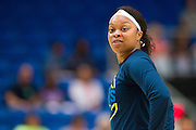 Odyssey Sims of the Dallas Wings warms up against the Connecticut Sun during a WNBA preseason game in Arlington, Texas on May 8, 2016.  (Cooper Neill for The New York Times)