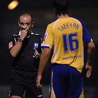 Photo: Ashley Pickering/Sportsbeat Images.<br /> Colchester United v Leicester City. Coca Cola Championship. 03/11/2007.<br /> Ref Mr A Penn has a word with Alan Sheehan of Leicester
