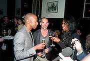 PAUL J. MEDFORD; LOUIE SPENCE; SINITA, PARTY AFTER THE OPENING OF SWEET CHARITY.  National Portrait Gallery cafe. London. 4 May 2010.  *** Local Caption *** -DO NOT ARCHIVE-© Copyright Photograph by Dafydd Jones. 248 Clapham Rd. London SW9 0PZ. Tel 0207 820 0771. www.dafjones.com.<br /> PAUL J. MEDFORD; LOUIE SPENCE; SINITA, PARTY AFTER THE OPENING OF SWEET CHARITY.  National Portrait Gallery cafe. London. 4 May 2010.