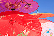 """14 FEBRUARY 2010 - PHOENIX, AZ: Chinese parasols for sale at the Chinese New Year celebration in Phoenix, AZ. This marks the Chinese """"Year of the Tiger."""" The Chinese New Year Celebration at the COFCO Chinese Cultural Center in Phoenix attracted thousands of people. The celebration featured traditional Chinese entertainment and food.  PHOTO BY JACK KURTZ"""