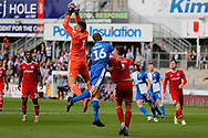 Accrington Stanley goalkeeper Dimitar Evtimov makes a save during the EFL Sky Bet League 1 match between Bristol Rovers and Accrington Stanley at the Memorial Stadium, Bristol, England on 7 September 2019.