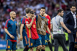 July 1, 2018 - Moscow, Russia - FIFA World Cup 2018. Russia defeated Spain.  Jordi Alba deppar efter förlusten. Fotbolls-VM, match 51, Spanien - Ryssland, Luzhniki stadium, Moscow, Russia  (Credit Image: © Orre Pontus/Aftonbladet/IBL via ZUMA Wire)