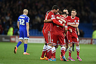 Peter Whittingham of Cardiff city (7) celebrates with his teammates after he scores his teams 1st goal to make it 1-1.Skybet football league championship match, Cardiff city v Ipswich Town at the Cardiff city stadium in Cardiff, South Wales on Tuesday 21st October 2014<br /> pic by Andrew Orchard, Andrew Orchard sports photography.