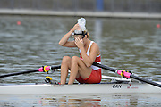 Chungju, South Korea. Sunday Heats, CAN. LW1X. Patricia OBEE. moves away from the start on the opening day of the 2013 FISA World Rowing Championships, Tangeum Lake International Regatta Course. 10:33:11  Sunday  25/08/2013 [Mandatory Credit. Peter Spurrier/Intersport Images]