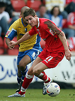 Photo: Rich Eaton.<br /> <br /> Swindon Town v Mansfield Town. Coca Cola League 2. 21/04/2007. Barry Corr left celebrates scorer of Swindons first goal attacks