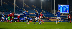 LIVERPOOL, ENGLAND - Monday, March 1, 2021: Southampton's Danny Ings (R) sees his shot blocked by Everton's Allan Marques Loureiro during the FA Premier League match between Everton FC and Southampton FC at Goodison Park. Everton won 1-0. (Pic by David Rawcliffe/Propaganda)