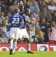 Photo: Daniel Hambury.<br />Watford v Leicester City. Coca Cola Championship.<br />15/10/2005.<br />Leicester's goal scorer Mark de Vries celebrates.