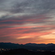 Colorful sunset in Medford, Oregon. Medford is located in Southern Oregon in the Rogue Valley with mountains on the west and east sides of the valley.