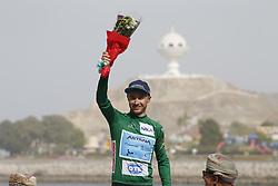 February 21, 2019 - Matrah Corniche, OMAN - Kazakh Alexey Lutsenko of Astana Pro Team celebrates on the podium of the sixth stage of the Oman cycling Tour 2019, 135,5 km from Al Mouj Muscat to Matrah Corniche, Oman, Thursday 21 February 2019. This years Tour of Oman is taking place from 16 to 21 February...BELGA PHOTO YUZURU SUNADA FRANCE OUT (Credit Image: © Yuzuru Sunada/Belga via ZUMA Press)