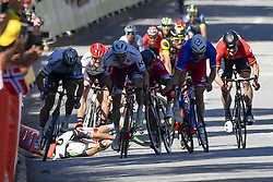 July 4, 2017 - Vittel, FRANCE - Great Britain Mark Cavendish of Dimension Data just felt next to Slovakian Peter Sagan of Bora - Hansgrohe, French Arnaud Demare of FDJ and Norway Alexander Kristoff of Team Katusha Alpecin who sprint during the fourth stage of the 104th edition of the Tour de France cycling race, 207,5 km from Mondorf-les-Bains, Luxembourg, to Vittel, France, Tuesday 04 July 2017. This year's Tour de France takes place from July first to July 23rd. BELGA PHOTO DIRK WAEM (Credit Image: © Dirk Waem/Belga via ZUMA Press)