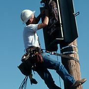 Telephone line worker