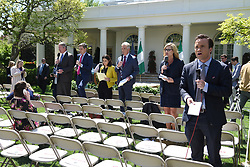 Members of the WHite House press corps report from the Rose Graden after a joint press conference between US President Donald Trump and Nigerian President Muhammadu Buhari on April 30, 2018 in Washington, DC. Photo by Olivier Douliery/Abaca Press