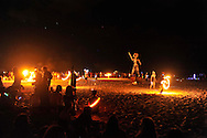 """The Fire Dance, the Burning of the Man at """"Mid Burn"""", the Israeli """"Burning Man Festival"""" held at """"Habonim"""" beach north of Israel October 4-6, 2012."""