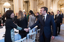 Yoko Hayashi and Emmanuel Macron during the first meeting of the G7 Gender Equality Advisory Council in Paris, France, on February 19, 2019. Photo by Jacques Witt/Pool/ABACAPRESS.COM