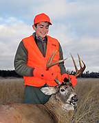 Joe Crowley of Hudson, Wisconsin, with his first whitetail.