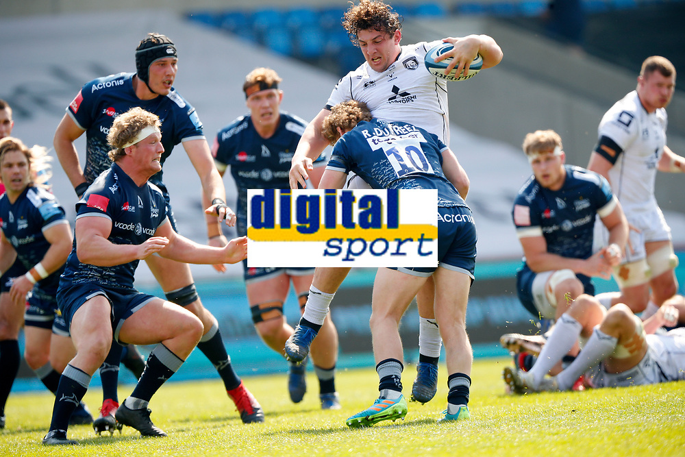 Caption Template Rugby Union - 2020 / 2021 Gallagher Premiership - Round 16 - Sale Sharks vs Gloucester - AJ Bell Stadium<br /> <br /> Robert du Preez of Sale Sharks receives a red card for tackle on Val Rapava-Ruskin of Gloucester Rugby<br /> <br /> Credit COLORSPORT/LYNNE CAMERON