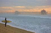 Surfers Near the Huntington Beach Pier Orange County, California