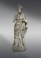 Roman statue of a woman. Marble. Perge. 2nd century AD. Inv no 2015/186. Antalya Archaeology Museum; Turkey. .<br /> <br /> If you prefer to buy from our ALAMY STOCK LIBRARY page at https://www.alamy.com/portfolio/paul-williams-funkystock/greco-roman-sculptures.html . Type -    Antalya     - into LOWER SEARCH WITHIN GALLERY box - Refine search by adding a subject, place, background colour, museum etc.<br /> <br /> Visit our ROMAN WORLD PHOTO COLLECTIONS for more photos to download or buy as wall art prints https://funkystock.photoshelter.com/gallery-collection/The-Romans-Art-Artefacts-Antiquities-Historic-Sites-Pictures-Images/C0000r2uLJJo9_s0