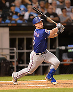 CHICAGO - AUGUST 22:  Scott Heineman #16 of the Texas Rangers bats against the Chicago White Sox on August 22, 2019 at Guaranteed Rate Field in Chicago, Illinois.  (Photo by Ron Vesely)  Subject:   Scott Heineman