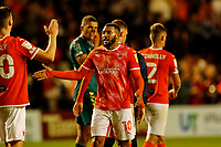 Football - 2021 / 2022 EFL Carabao Cup - Round One: Blackpool vs. Middlesbrough<br /> <br /> Keshi Anderson of Blackpool celebrates at the final whistle after his team ran out 3-0 winners, at Bloomfield Road.<br /> <br /> COLORSPORT/ALAN MARTIN