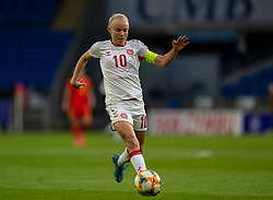 CARDIFF, WALES - Tuesday, April 13, 2021: Denmark's captain Pernille Harder, on her way to scoring the opening goal, during a Women's International Friendly match between Wales and Denmark at the Cardiff City Stadium. (Pic by David Rawcliffe/Propaganda)