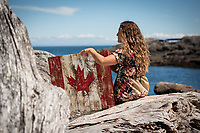 Jessica Harcombe Fleming of Beattie Tartan Communications Group takes time out for a casual portrait by the ocean in Victoria, BC.