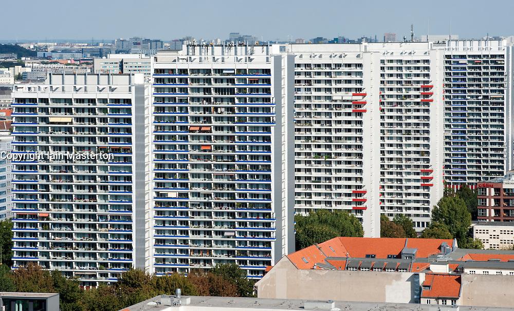 High rise apartment buildings from East German era in Mitte Berlin