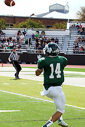 19 September 2015:  Incoming touchdown pass to Artie Checchin during an NCAA division 3 football game between the Simpson College Storm and the Illinois Wesleyan Titans in Tucci Stadium on Wilder Field, Bloomington IL