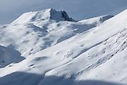 Snowy ridge below col de Pause, near Couflens, Ariege, Midi-Pyrenees, France..