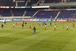 March 1, 2018 - Harrison, New Jersey, United States - Players of CD Olimpia of Honduras warming up before 2018 CONCACAF Champions League round of 16 game against New York Red Bulls at Red Bull arena, Red Bulls won 2 - 0  (Credit Image: © Lev Radin/Pacific Press via ZUMA Wire)