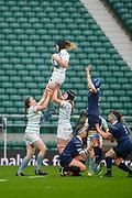 Twickenham, Surrey. UK.  Lock, Alice ELGAR, collects the line out ball, during the 2017 Women's Varsity Rugby Match, Oxford vs Cambridge Universities. RFU Stadium, Twickenham. Surrey, England.<br /> Thursday  07.12.17  <br /> [Mandatory Credit Peter SPURRIER/Intersport Images]