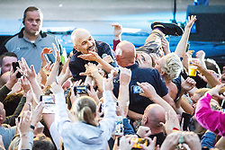 "© Licensed to London News Pictures . 07/07/2017 . Manchester , UK . Lead singer TIM BOOTH crowd surfs . "" James "" perform live at the Castlefield Bowl as part of Sounds of the City , during the Manchester International Festival . Photo credit : Joel Goodman/LNP"