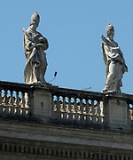 Baroque style sculptures in the Vatican Museum Gardens; Rome. Pope Julius II founded the museums in the early 16th century.
