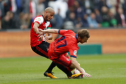 (L-R) Karim El Ahmadi of Feyenoord, David Zurutuza of Real Sociedad de Futbol during the pre-season friendly match between Feyenoord Rotterdam and Real Sociedad at the Kuip on July 29, 2017 in Rotterdam, The Netherlands