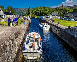 Vessels negotiating the locks on the Caledonian Canal at Fort Augustus, Scotland<br /> <br /> (c) Andrew Wilson   Edinburgh Elite media