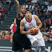 Turkey's Enes KANTER (R) during their Istanbul CUP 2011match played Turkey between New Zeland at Abdi Ipekci Arena in Istanbul, Turkey on 24 August 2011. Photo by TURKPIX