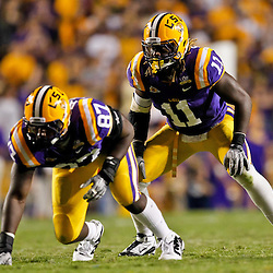 October 16, 2010; Baton Rouge, LA, USA; LSU Tigers linebacker Kelvin Sheppard (11) lines up for a play against the McNeese State Cowboys during a game at Tiger Stadium. LSU defeated McNeese State 32-10. Mandatory Credit: Derick E. Hingle