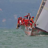 Sailing ship Sponsor Wanted during the 41st Blue Ribbon Regattta race along the 160 km course around Lake Balaton near Balatonfured, 150 km (93 miles) west of Budapest. Hungary. Friday, 03. July 2009. ATTILA VOLGYI