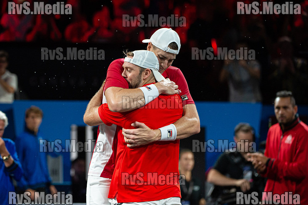 GENEVA, SWITZERLAND - SEPTEMBER 22: John Isner and Jack Sock of Team World celebrates the win during Day 3 of the Laver Cup 2019 at Palexpo on September 20, 2019 in Geneva, Switzerland. The Laver Cup will see six players from the rest of the World competing against their counterparts from Europe. Team World is captained by John McEnroe and Team Europe is captained by Bjorn Borg. The tournament runs from September 20-22. (Photo by Robert Hradil/RvS.Media)