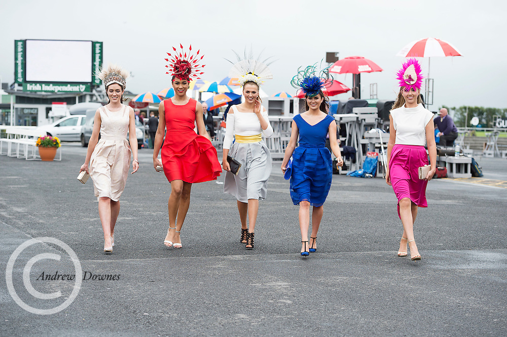 28/07/2016 repro free  <br /> Mairead Breathnach Cork, Bailey Olliffe, Cork City  Orla Clancy, Mallow, Aoife O'Sullivan, Kinsale, Amy Barry from Cork at The g Hotel Best Dressed competitions on Ladies day of The Galway Races . Photo:Andrew Downes, xposure