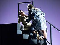 Carmen Topciu and  Daniel Sumegi taking part in the 'Bluebeard's Castle' premiere, Final Dress Rehearsal, Sydney, Australia photo by Rhiannon Hopley<br /> <br /> A new, contemporary staging by Australian Director Andy Morton and Associate Director Priscilla Jackman, of the rarely performed psychological thriller, ahead of its premiere at the Sydney Opera House on Monday 1 March. This haunting new production is described as an evocative exploration of the dark recesses of the mind, in a modern interpretation that strips away the layers to confront the disturbing psychology behind the story. Designer John Rayment's inspired use of light creates a stark and chilling set that complements the powerful score and conjures a sense of mystery, with secretive spaces arousing suspicion in the bride-to-be who has abandoned her wedding and run into the arms of the treacherous Bluebeard. Performed in Hungarian and only running 1 hour, this opera demands two commanding singers to tackle the difficult score; Australian bass-baritone Daniel Sumegi and Italian mezzo-soprano Carmen Topciu are equal to the task.
