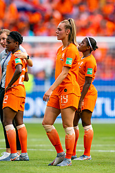 07-07-2019 FRA: Final USA - Netherlands, Lyon<br /> FIFA Women's World Cup France final match between United States of America and Netherlands at Parc Olympique Lyonnais. USA won 2-0 / Jill Roord #19 of the Netherlands, Liza van der Most #22 of the Netherlands, Lineth Beerensteyn #21 of the Netherlands
