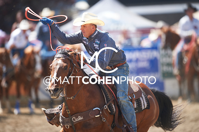 Team roper Turtle Powell of Stephenville, TX competes at the Redding Rodeo in Redding, CA.<br /> <br /> <br /> UNEDITED LOW-RES PREVIEW<br /> <br /> <br /> File shown may be an unedited low resolution version used as a proof only. All prints are 100% guaranteed for quality. Sizes 8x10+ come with a version for personal social media. I am currently not selling downloads for commercial/brand use.