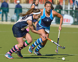 Nicki du Plessis of Herschel and Georgia Moir of Springfield during day two of the FNB Private Wealth Super 12 Hockey Tournament held at Oranje Meisieskool in Bloemfontein, South Africa on the 7th August 2016, <br /> <br /> Photo by:   Frikkie Kapp / Real Time Images