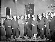 President Eamon de Valera and Mrs. de Valera celebrate their Golden Wedding Anniversary at Áras an Uachtarain..1960..07.01.1960..01.07.1960..7th January 1960...Members of the Government, including An Taoiseach Seán Lemass, visit President and Mrs. de Valera at Áras an Uachtarain on the occasion of their Golden Jubilee, and present them with a 150 year old silver salver and a portrait.  .08.01.1960