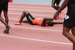 Samsung Diamond League adidas Grand Prix track & field; men's 200 meters, Nickel Ashmeade, JAM, reacts to false start,