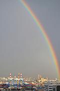 Israel, Haifa, a rainbow over the city